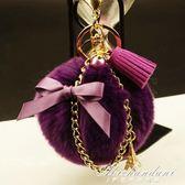 超大毛球鑰匙扣女珍珠流蘇金屬鍊汽車鑰匙掛件 黛尼時尚精品