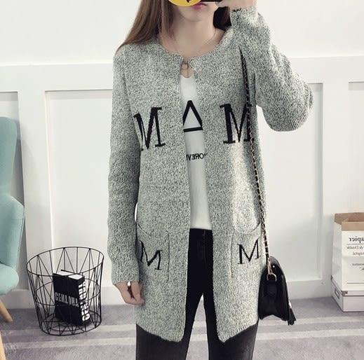 EASON SHOP(GU6284)英文字母口袋毛衣外套女韓版寬鬆針織衫開衫中長款長版大碼春夏裝麻灰色