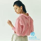 ❖ Hot item ❖ 直條紋後綁帶設計長袖襯衫 - earth music&ecology