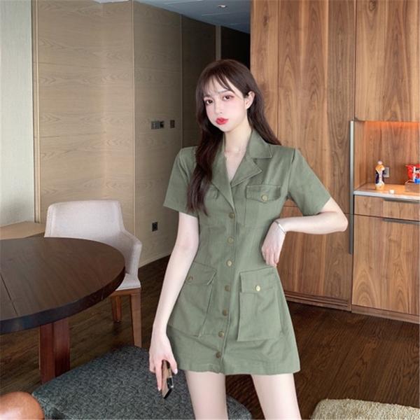 超殺29折 韓國風復古多口袋翻領排釦短袖洋裝