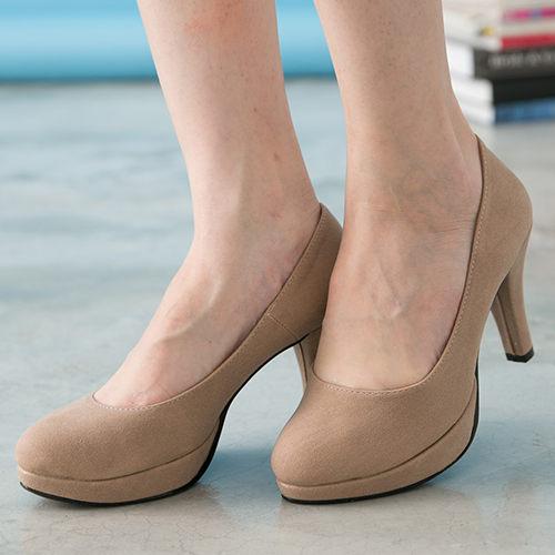女款 絨質OL素面上班面試防水底台 高跟鞋 MIT製造 棕絨 59鞋廊