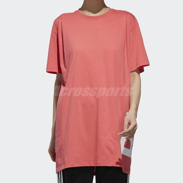 adidas T恤 Capital Logo Tee 女款 短T 短袖 上衣 長版 寬鬆 大LOGO 粉 【ACS】 DV0751
