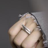 簡約創意拉絲啞光銀戒指活口可調節冷淡風素戒/設計家