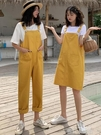 背帶褲女2020秋季新款韓版學生闊腿牛仔褲寬鬆直筒褲高腰連身褲子 依凡卡時尚