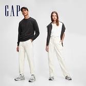 Gap男女同款 基本款直筒休閒褲 759666-米色