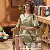 睡裙女純棉夏季短袖可愛少女學生寬鬆全棉家居服睡衣休閒卡通款『小淇嚴選』