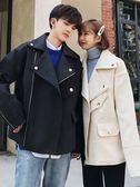 情侶外套氣質情侶裝秋裝韓版學生毛呢大衣百搭bf風冬季毛呢外套女 莎瓦迪卡