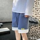 休閒短褲 夏季新款寬鬆短褲男韓版拼色大褲衩嘻哈運動沙灘大碼中褲 JX765『優童屋』