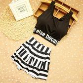 泳衣女學生中大童運動韓版少女夏季分體平角褲保守黑色條紋兩件套 全館免運