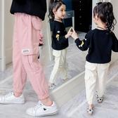 女童褲子春秋2019新款8歲小女孩9韓版寬松洋氣7秋款6兒童工裝長褲【快速出貨】