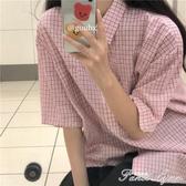 2020年新款夏季溫柔風甜美格子短袖上衣女學院風文藝寬鬆襯衫外套 中秋節全館免運