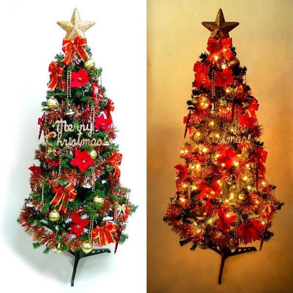 幸福6尺/6呎(180cm)一般型裝飾綠聖誕樹  (紅金色系配件)+100燈鎢絲樹燈2串(本島免運費)