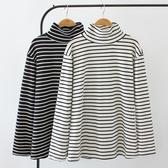 促銷特價 秋季韓版女裝新款打底衫胖MM寬松顯瘦高領橫條長袖衛衣休閑上衣