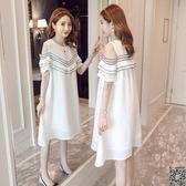 洋裝 孕婦夏裝上衣2019新款中長款短袖孕婦洋裝仙女超仙時尚夏天裙子