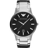 Emporio Armani 亞曼尼紳士手錶-黑x銀/43mm AR11181