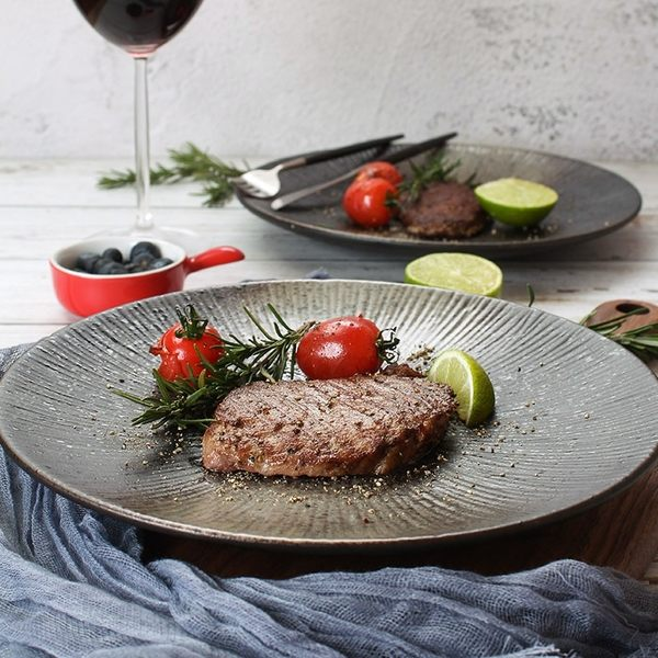 618大促 創意盤子日式黑色圓形磨砂陶瓷餐具餐盤菜盤家用個性西餐盤牛排盤