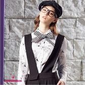【SHOWCASE】個性塗鴉合身剪裁領結襯衫(白)