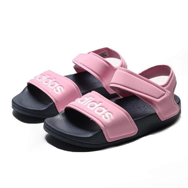 ADIDAS ADILETTE SANDAL 粉 白LOGO 魔鬼氈 運動 輕量 涼鞋 中童(布魯克林) G26876