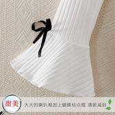 純白色喇叭袖打底衫女長袖t恤短款針織衫上衣