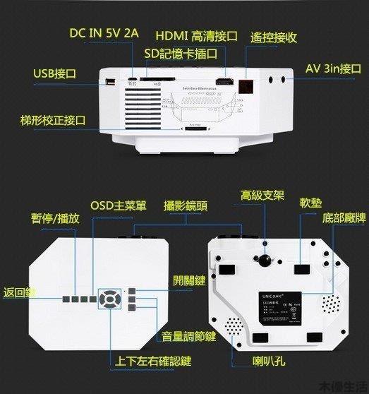 優麗可UC30家用微型投影機 投影儀 電腦、手機可以連接 迷妳便攜投影機 高清家庭影院