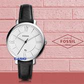 FOSSIL 手鰾專賣店 國隆 ES3972 簡約石英女錶 皮革錶帶 白色波紋錶面 防水 日期顯示