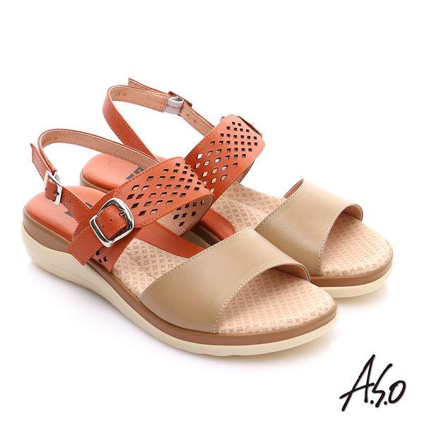 A.S.O 挺麗氣墊 真皮雙色沖孔奈米繫帶涼鞋 橘