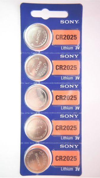 全館免運費【電池天地】SONY 手錶電池 鈕扣電池  CR2025   一排5顆