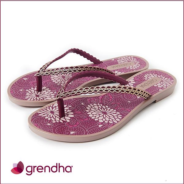 GRENDHA 華麗歐風花園夾腳鞋-紫色