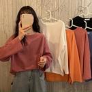 秋季韓版2020新款寬松百搭慵懶風純色簡約圓領長袖T恤上衣女學生