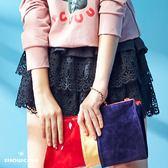 【SHOWCASE】蕾絲蛋糕層次絨感短裙(黑/卡)