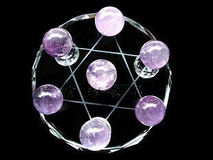 天然紫晶球七星陣 球直徑17mm