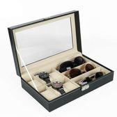 6位手錶盒高檔PU皮革3位太陽鏡墨鏡展示收納包裝盒《小師妹》jk45