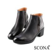 SCONA 蘇格南 全真皮 簡約雙側拉鍊厚底短靴 黑色 8789-1