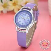 一件85折免運--可愛女孩潮錶水鉆防水腕錶中小學生簡約皮帶錶女錶石英錶兒童手錶XW