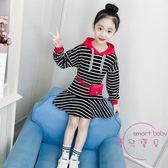 (低價促銷)女童連身裙秋裝新品正韓潮童裝洋氣春秋兒童條紋連帽衛衣裙子
