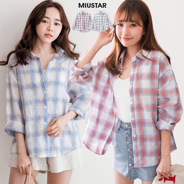 MIUSTAR 微透織紋格紋棉麻襯衫(共2色)【NF3476LZ】預購