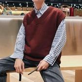 春秋冬季寬鬆無袖毛衣chic韓版男士坎肩袖V領針織馬甲背心學院風