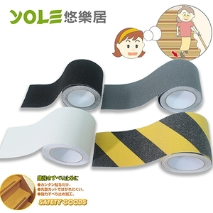 【YOLE悠樂居】金鋼砂防水防滑耐磨膠帶10cm*5米-黑色(2捲)