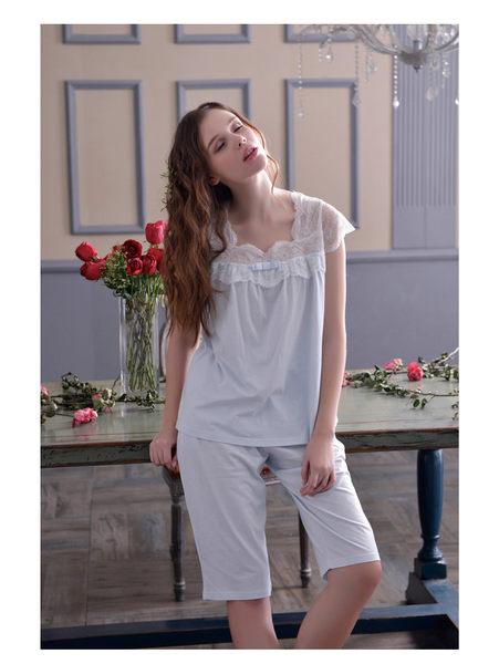 夏季新品純棉睡衣女甜美家居服全棉休閒夏天薄款套裝 -swe0013