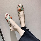 半拖鞋 草莓拖鞋女外穿2020年新款女鞋平底外出時尚包頭半拖魚嘴涼拖ins
