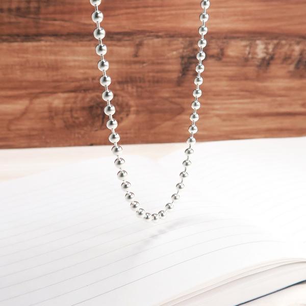 光亮圓珠鍊(3.5mm寬鍊) 28吋搭配鍊 925純銀項鍊