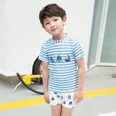店長推薦 條紋兒童男童泳衣分體中大童游泳衣套裝短袖寶寶平角褲速干衣