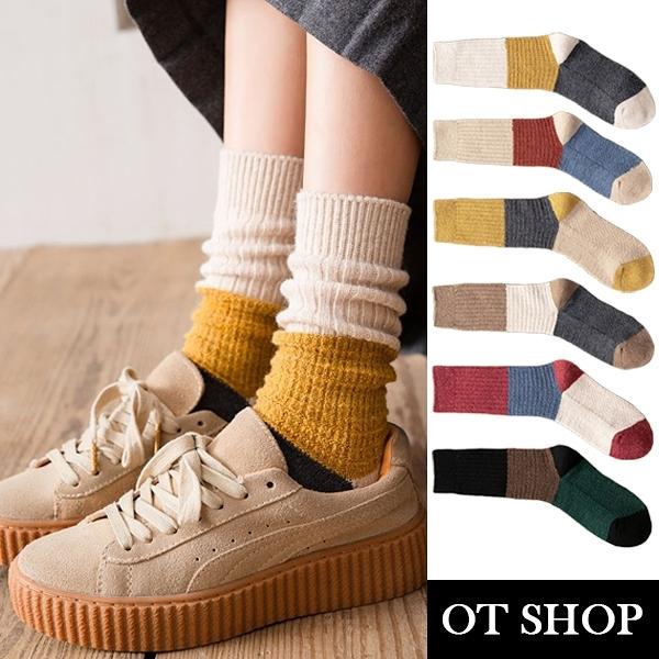 OT SHOP [現貨] 襪子 中筒襪 長襪 秋冬保暖 加厚 羊毛混紡 色塊撞色 學院風 日系百搭穿搭配件 M1094
