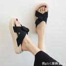 拖鞋 網紅沙灘涼拖鞋女夏天外出2021新款時尚百搭可濕水蝴蝶結仙女風鞋 618購物節