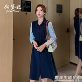 春夏新款大碼韓版時尚百搭顯瘦女裝潮流長袖修身休閒洋裝女