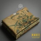 復古絲絨方形茶巾加厚彩繪印花吸水布功夫茶具【輕奢時代】