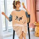 撞色袖子貓咪印花家居服洋裝-中大尺碼 獨具衣格 J3718