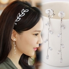 【NiNi Me】夾式耳環 氣質水鑽樹葉流蘇夾式耳環 夾式耳環 E0029