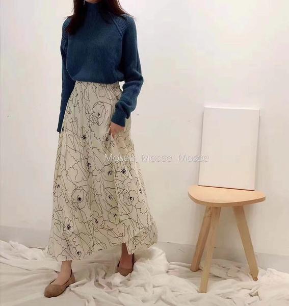 I1610# 長裙女春小清新抽象印花雪紡半身裙子大擺裙 &小咪的店&