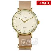 TIMEX 天美時/ TXT2P98400 / INDIGLO 美國指標簡約高品味真皮手錶 淺黃x金框x駝 36mm